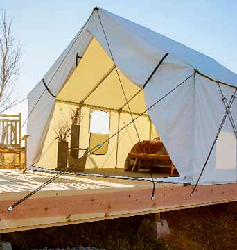 Luxury camping tents glamping tents montana canvas for Build your own canvas tent